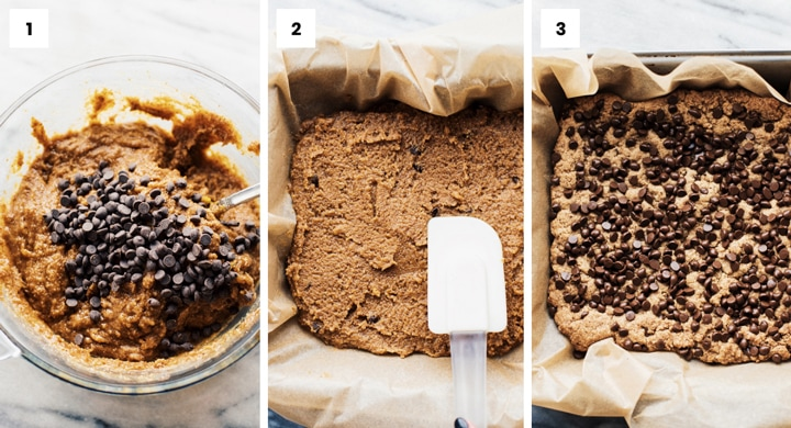 step by step photos of how to make chocolate chip blondies.