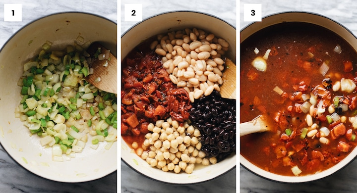 Step by step photos showing how to make vegetarian tortilla soup