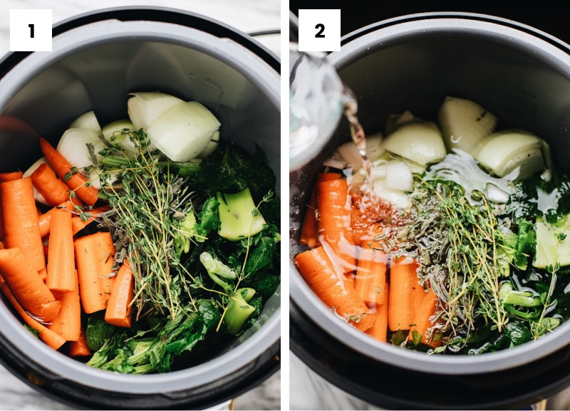 Step by step photos showing how to make vegetable stock.