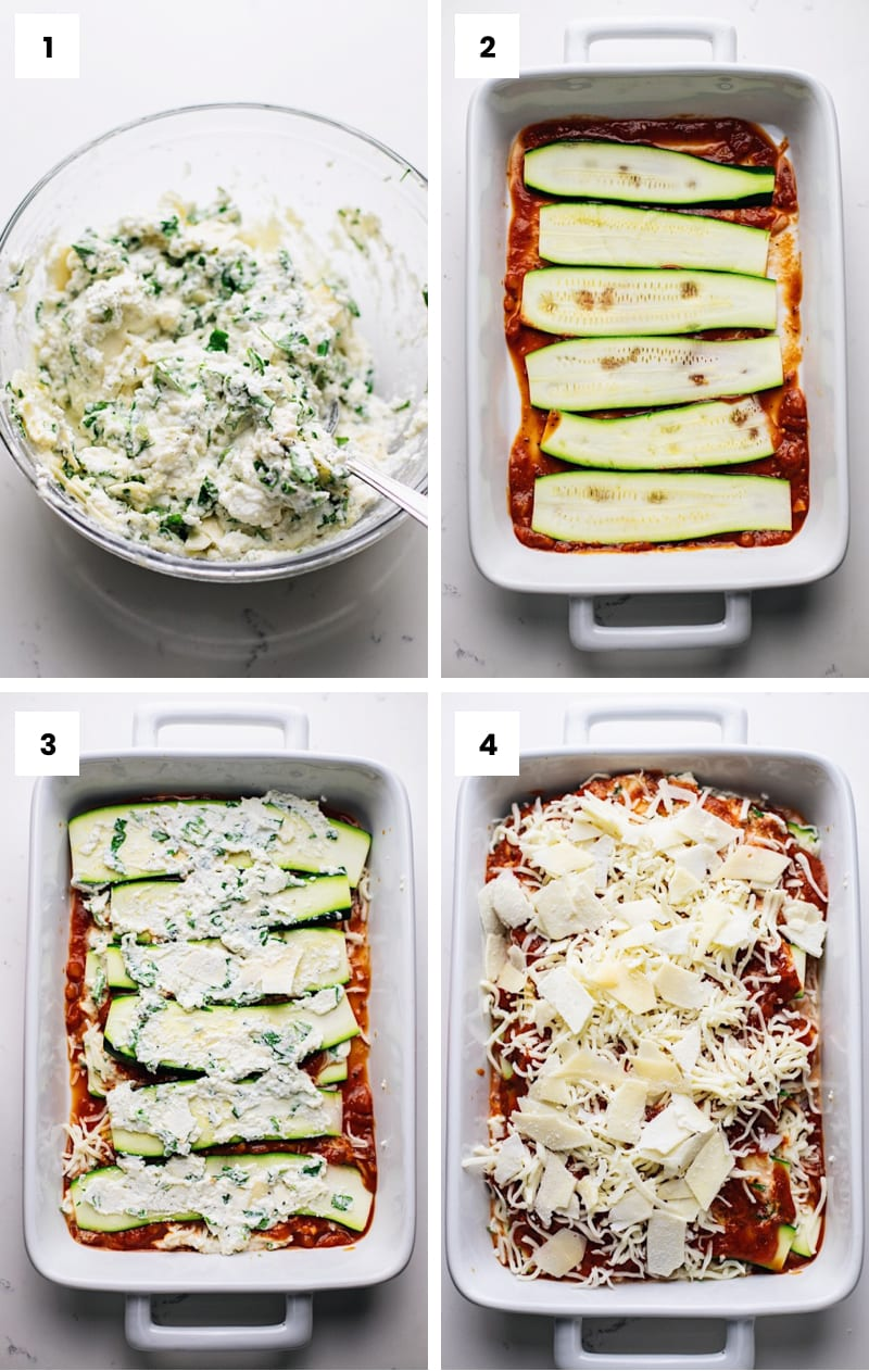 step by step photos showing how to make zucchini lasagna