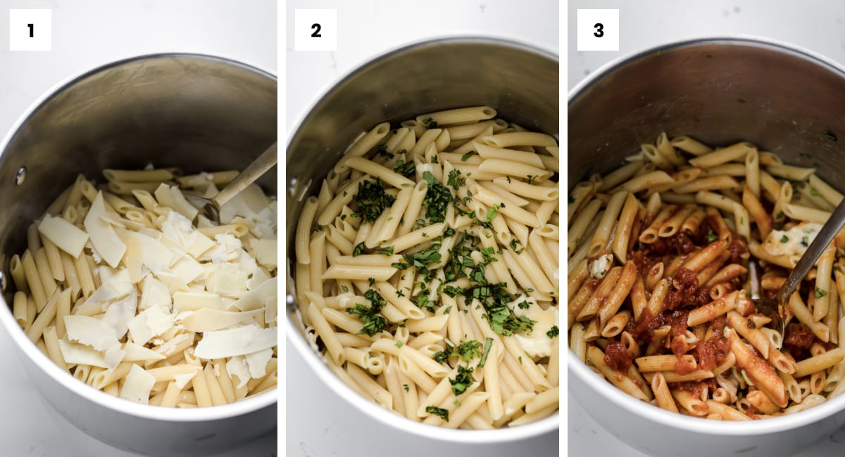 step by step photos showing how to make baked ziti