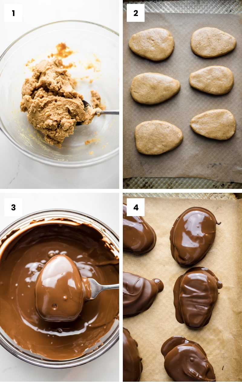 how to make chocolate peanut butter eggs step by step