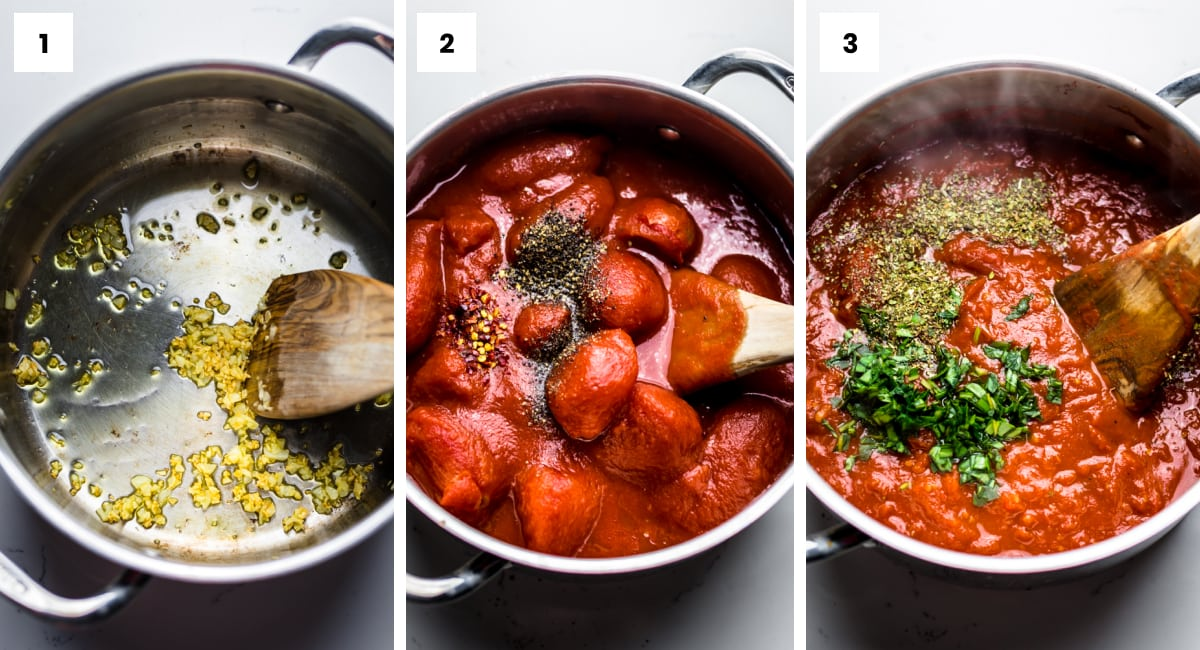 step by step photos showing how to make arrabbiata sauce.
