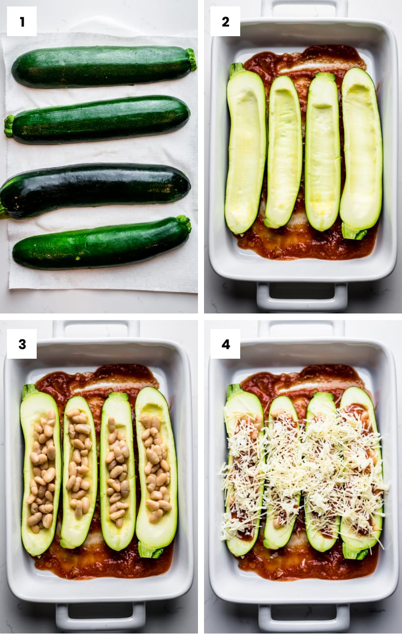 step by step photos showing how to make stuffed zucchini boats.