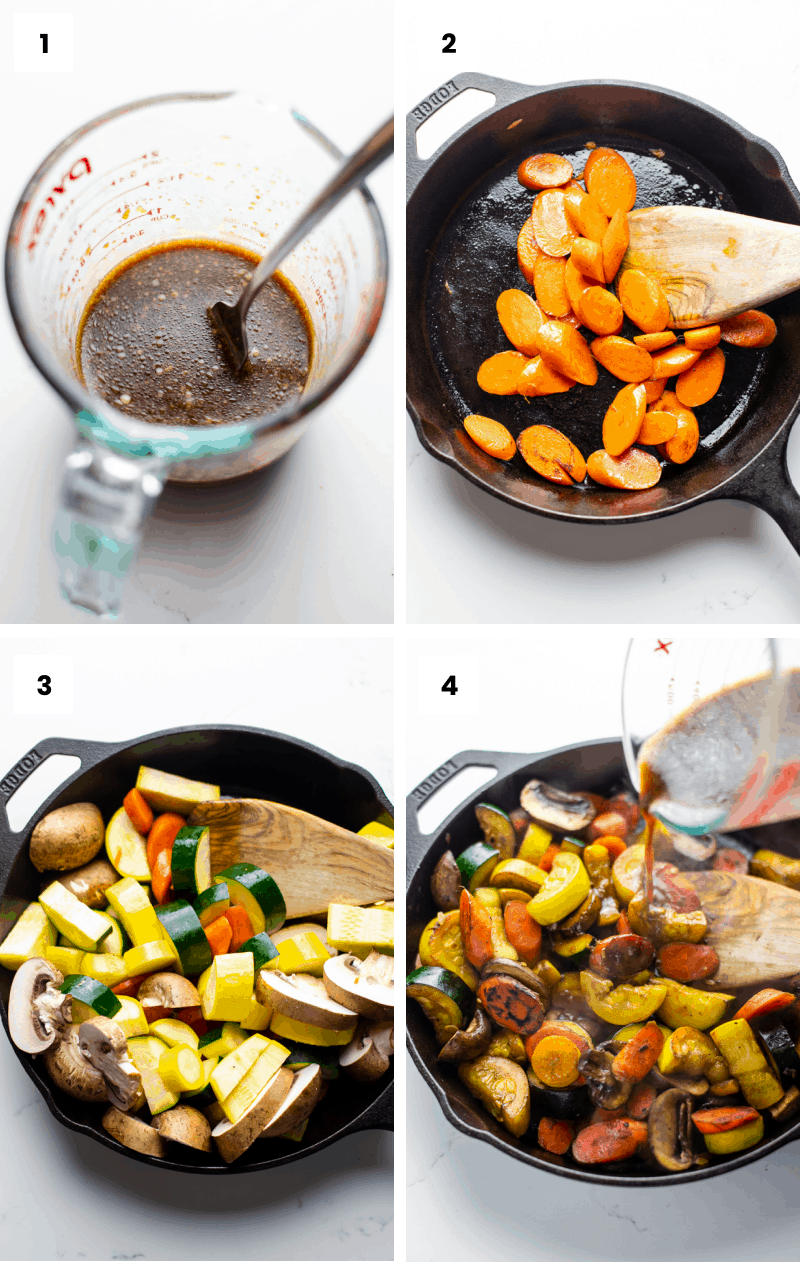 step by step photos showing how to make zucchini stir fry