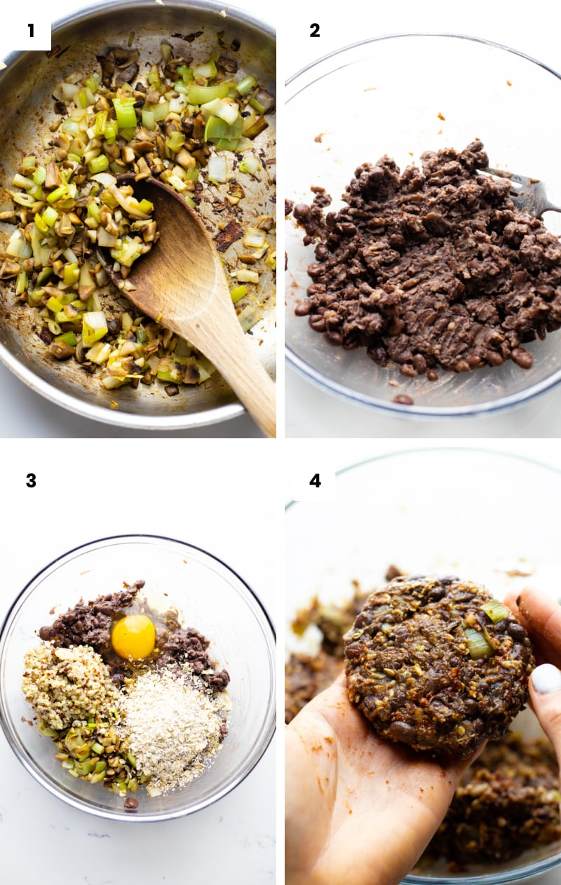step by step photos showing how to make black bean quinoa burgers.