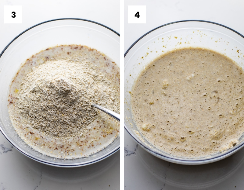 step by step photos showing how to make oatmeal banana pancakes.