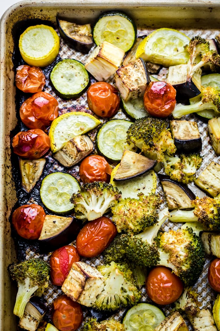 Mixed roasted vegetables in on a tray