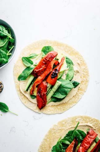 Roasted Pepper Hummus Veggie Wrap
