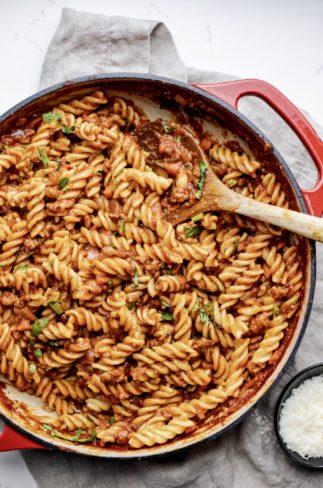 Fusilli Pasta with Sausage Ragu