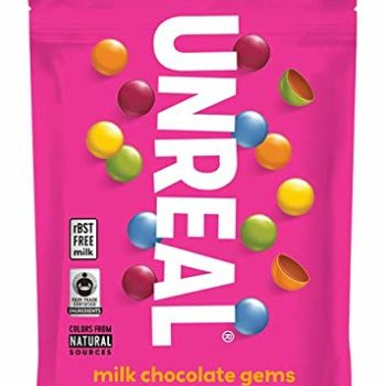 a pink bag of unreal chocolate gems.