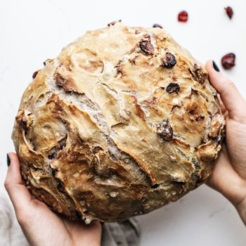 No Knead Cranberry Walnut Bread