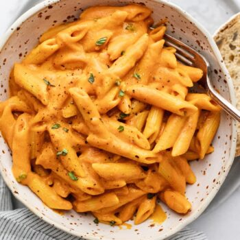 15-Minute Roasted Red Pepper Chickpea Pasta