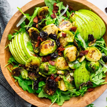Warm Brussels Sprout Salad with Cider Dijon Dressing