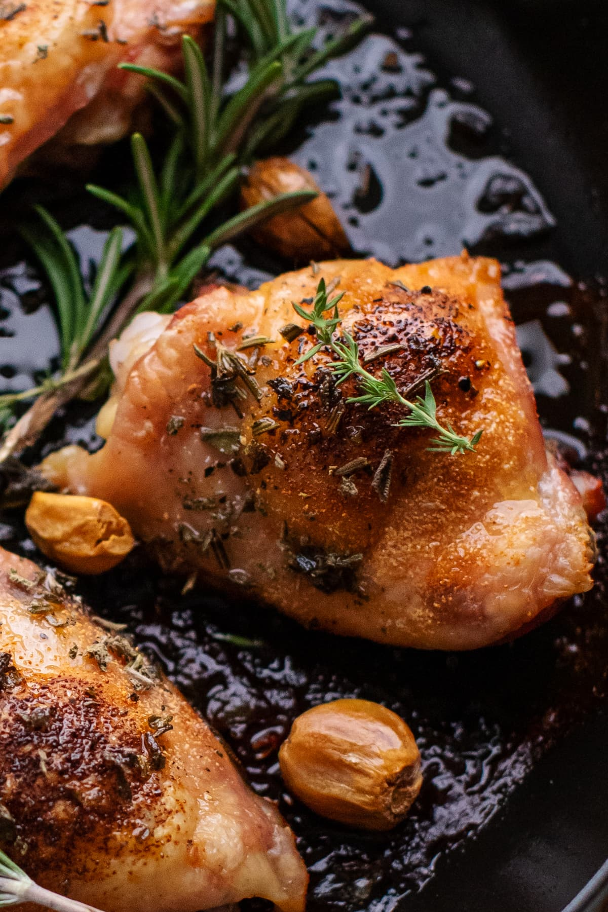 close up of roasted chicken thighs in a skillet with herbs and roasted garlic cloves arranged around them.