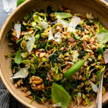 Warm Kale and Brussel Sprout Salad with Farro